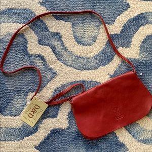 NWT VERA PELLE Red Leather Crossbody Purse